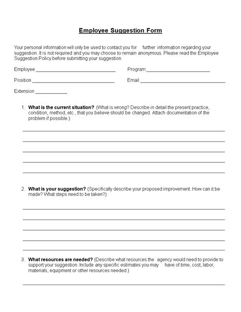 employee suggestion form word format templates
