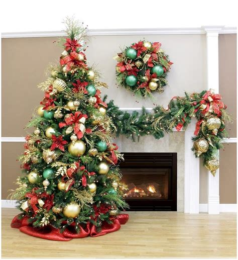 white christmas tree  red  gold decorations  tsus