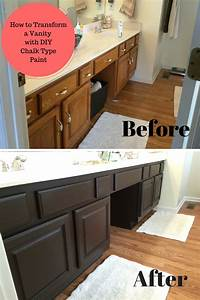 bathroom vanity transformation with diy chalk type paint With what kind of paint to use on kitchen cabinets for kids love stickers