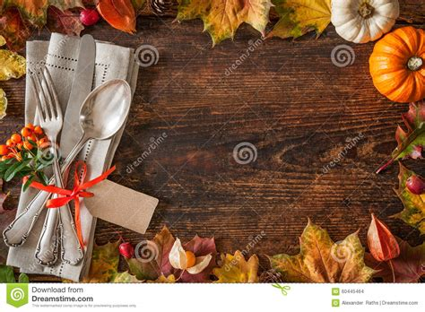 thanksgiving autumn place setting stock photo image