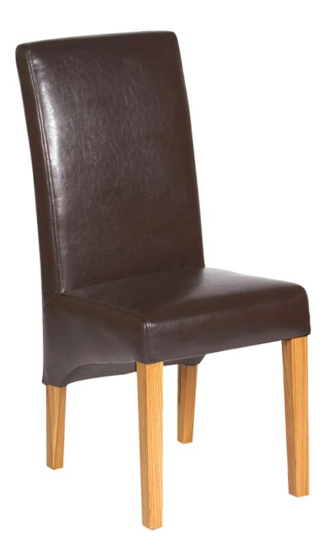 langham oak and faux leather dining chair