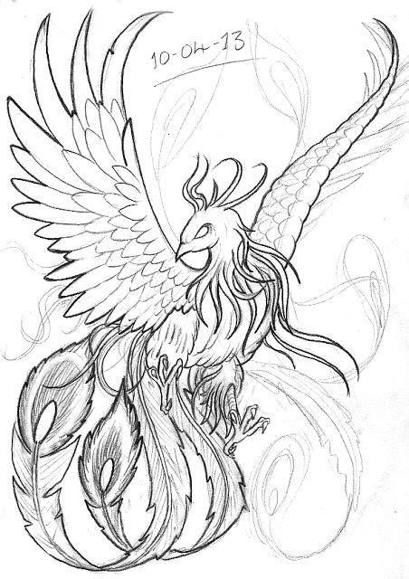 realistic phoenix bird drawings - Google Search   Adult Coloring Book   Phoenix drawing, Tattoo