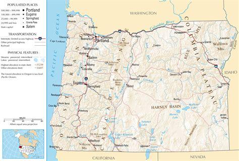 oregon map  large images states oregon map