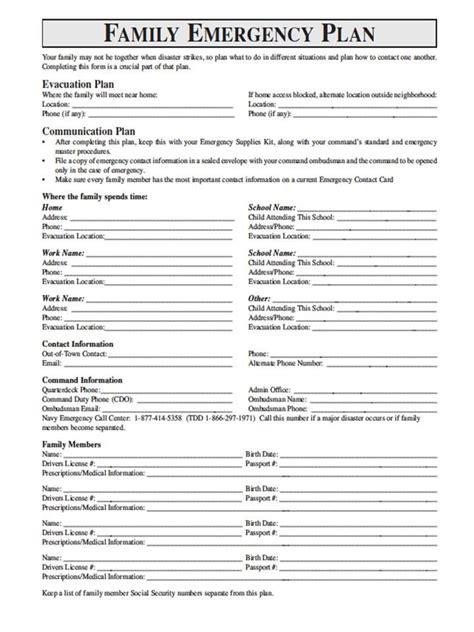 family emergency plan emergency plan family emergency