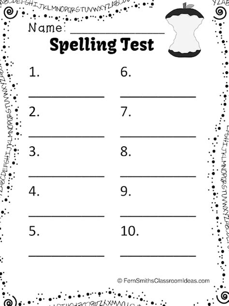 Kindergarten Spelling Test Sheet  Free Printable Blank Spelling Practice Worksheets