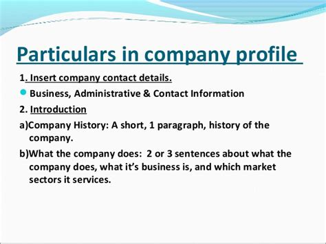 ppt of company profile in project