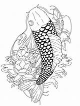 Koi Coloring Fish Pages Japanese Adult Adults Tattoo Printable Print Detailed Coy Clipart Ink Drawing Paper Recommended Popular Getcolorings Pattern sketch template