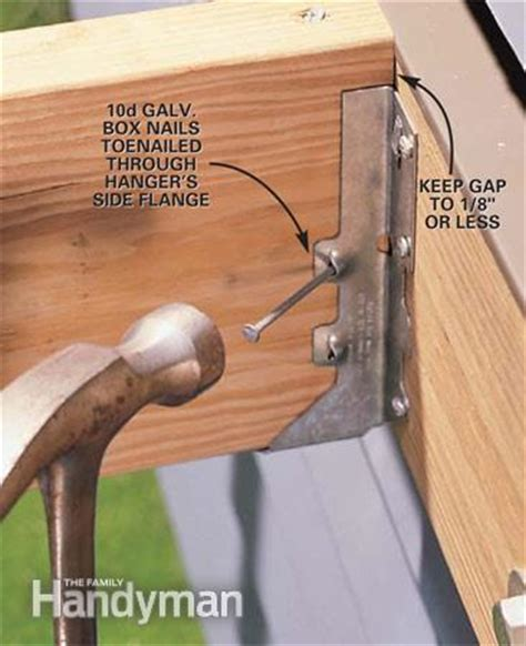 deck joist hangers hardware how to install joist hangers the family handyman