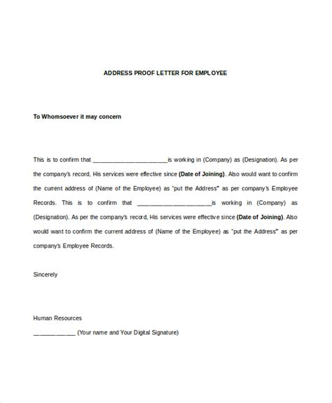proof of address letter sle employee verification letter 8 free documents in