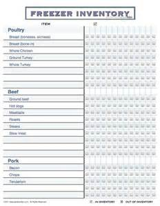 Printable Freezer Inventory Template