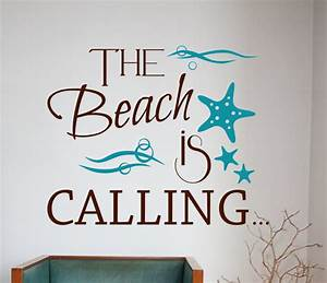 Ocean vinyl wall decal decor nautical decor beach quotes for Beautiful beach decals for walls