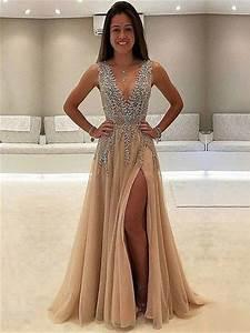 Luxurious A-Line V-Neck Sleeveless Split Front Long Prom