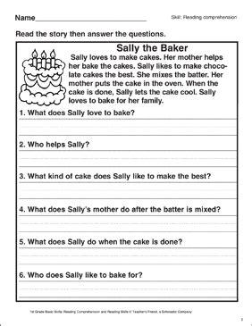 sally  baker reading comprehension printable skills