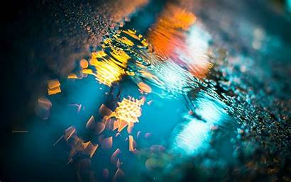 Rain Wallpapers Water Ground Colorful Reflections Lights