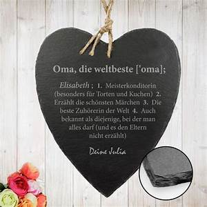 Geschenke Für Oma Weihnachten : schieferherz mit gravur definition weltbeste oma geschenkly geschenkideen die passen ~ Eleganceandgraceweddings.com Haus und Dekorationen