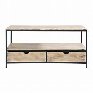 meuble tv indus en metal et bois massif noir long island With meuble noir et bois