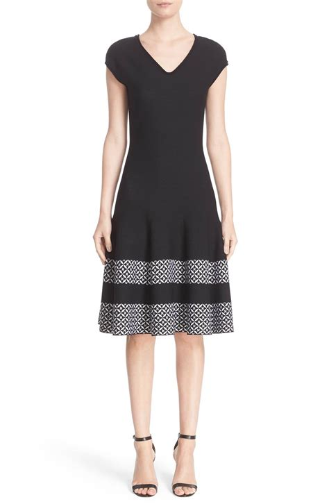 st john collection pinwheel jacquard fit flare dress