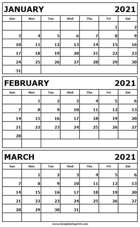 printable jan  mar  calendar template editable
