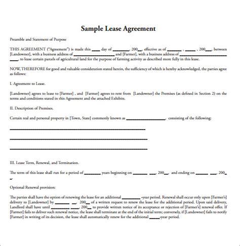 Farm Land Lease Agreement Sample
