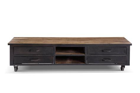meuble tv roulettes meuble tv industriel 224 roulettes bois et m 233 tal tv01