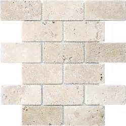 shop anatolia tile chiaro tumbled mosaic travertine wall tile common 12 in x 12 in actual 10
