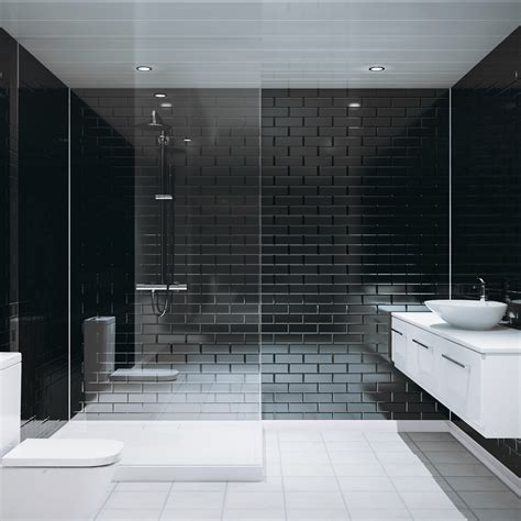 multipanel black vertical brick tile mm  mm bathroom wall panel