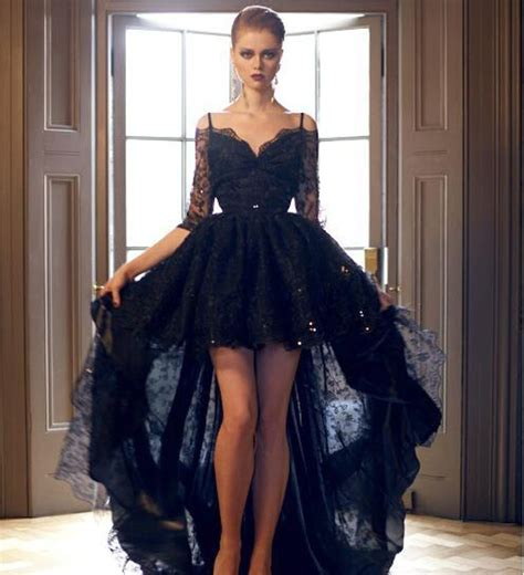 Gothic Black Lace Half Sleeve Prom Dress High Low Prom