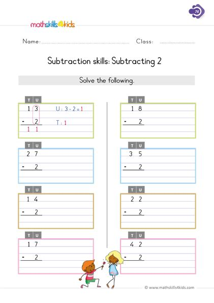 We spend a lot of time. Subtraction Basic Worksheets for 1st Grade   Printable Basic Math Subtraction Skills for 1st Grade