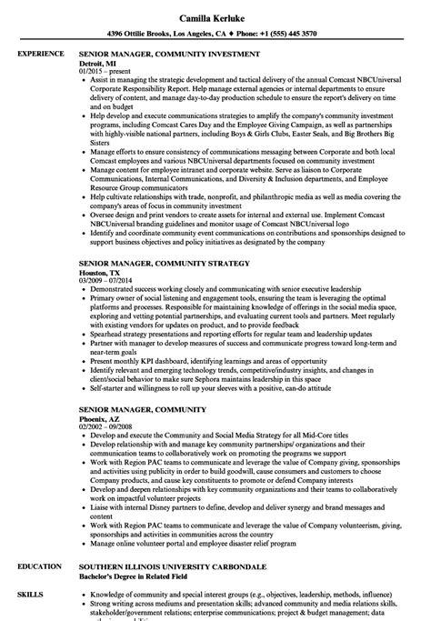 Senior Manager Resume Sle by Senior Manager Community Resume Sles Velvet