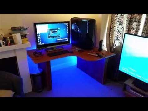 desk with led lights new desk with led strip lights youtube