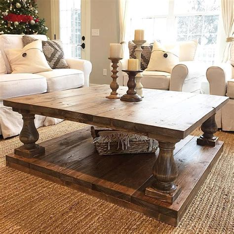 You can find all of the best farm home style dining tables below. Large Square Rustic Baluster Wide Plank Coffee Table | Farmhouse style coffee table, Decorating ...