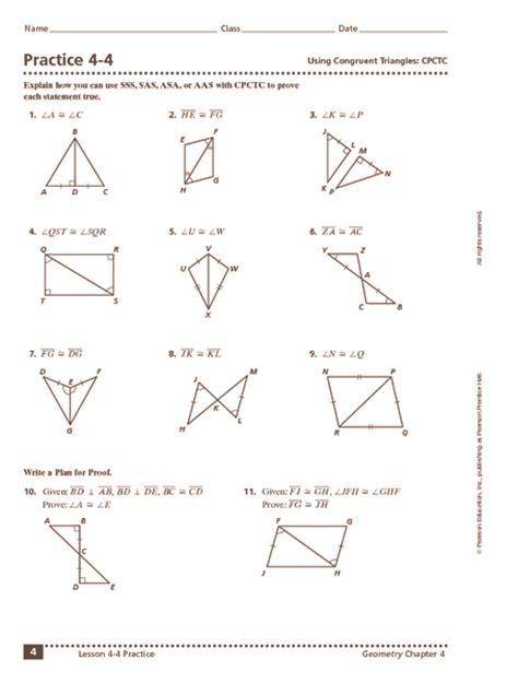 triangle congruence sss sas aas hl worksheet