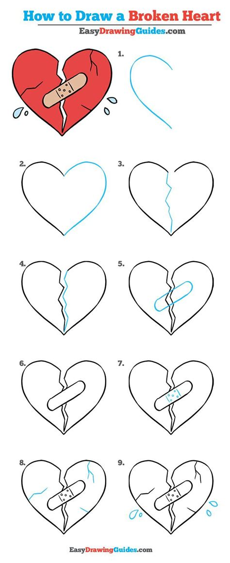 draw  broken heart  easy drawing tutorial
