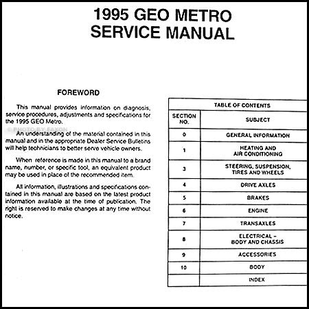 old cars and repair manuals free 1995 geo prizm electronic toll collection 1995 geo metro preliminary repair shop manual original