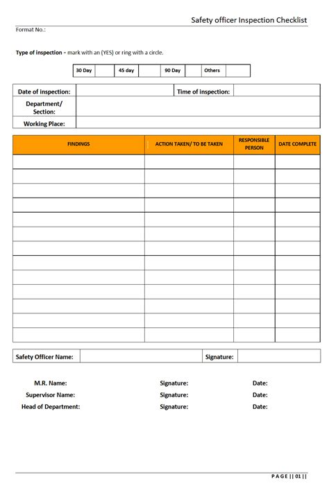 safety officer inspection checklistformat samples word