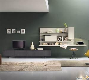 Schreibtisch Im Wohnzimmer Integrieren : plan fs56 wohnwand mit beitem regal als schreibtisch arredaclick lau pinterest ~ Bigdaddyawards.com Haus und Dekorationen