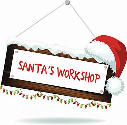 Workshop Sign Cartoon Wood Santa Santas Clip