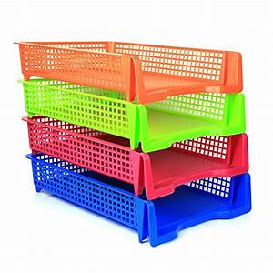 4 tier plastic desk letter organizer tray stackable With colored stackable letter trays
