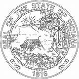 Coloring Indiana Seal Pages State Flag Seals Theclipartwizard 1000 Harbor sketch template