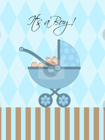 boy blue baby pram stock photo