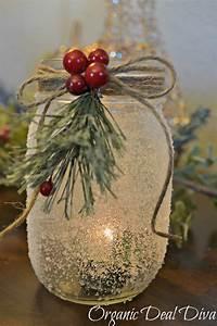 Diy, Snow, Covered, Mason, Jar, Candle, Holders