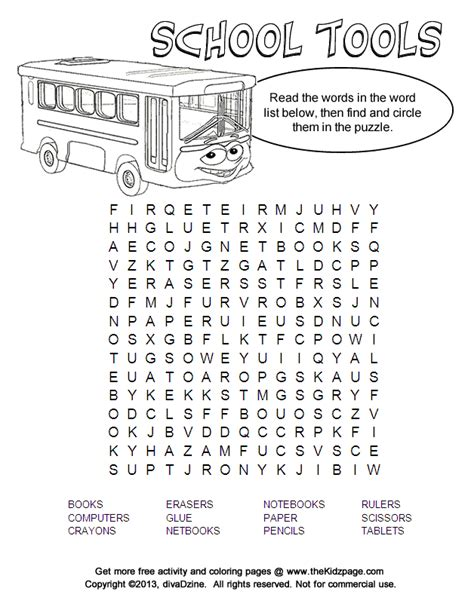 free middle school word search coloring pages