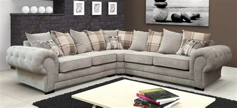 Big Corner Sofa by Big Verona Fabric Corner Sofa Light Grey Silver