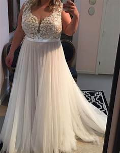 Lace appliqued soft tulle beach wedding dressesplus size for Beach plus size wedding dresses