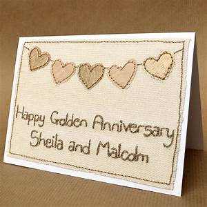 bunting golden wedding anniversary card by jenny arnott With images of golden wedding anniversary cards