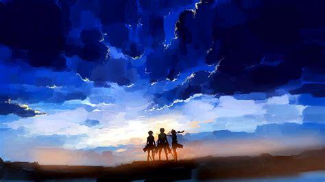 shingeki  kyojin sunset hd wallpaper background