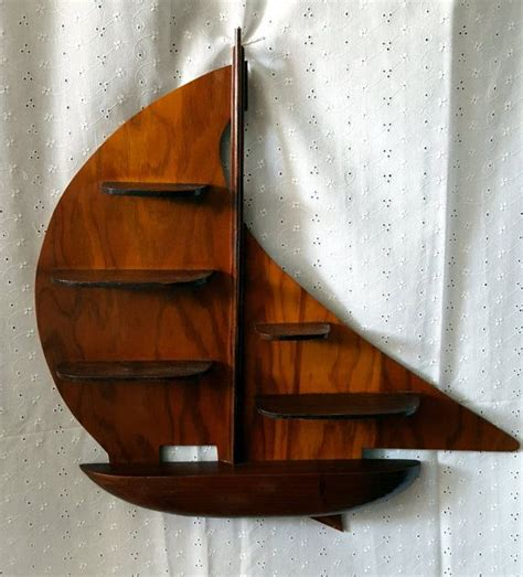 Sailboat Shelf by Vintage Wood Sailboat Shelf Wall Hanging Curio Display