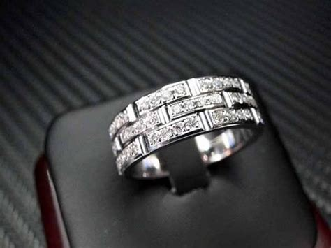 hand crafted  white gold mens diamond wedding band