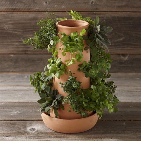 vertical terracotta herb tower
