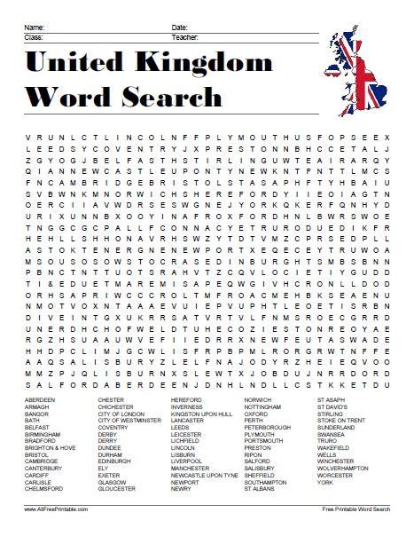 united kingdom cities word search free printable allfreeprintable com